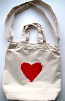 KINDERSEGEN Hamburg - toller Canvas Shopper mit Herz natur/rot