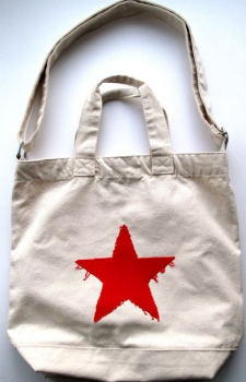 KINDERSEGEN Hamburg - toller Canvas Shopper mit Stern natur/rot