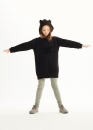 kids on the moon - Sweatdress schwarz mit Kapuze Hoodie